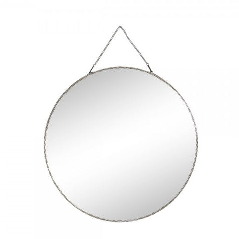 Medium Round Brass Mirror with Chain