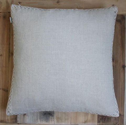 Linen Cushion with Lace Trim