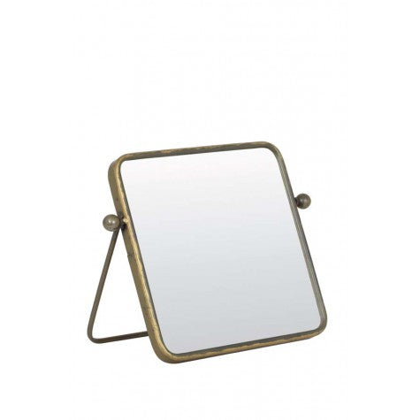 Square Brass Standing Mirror