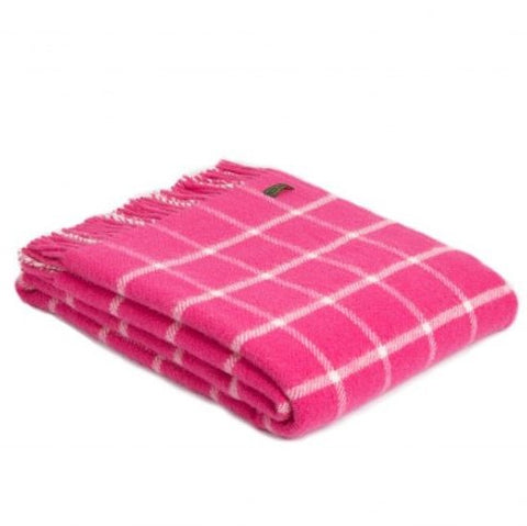 Pure New Wool Throw in Pink and White Check