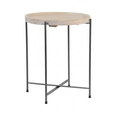 Pale Wood and Grey Metal Side Table 45cm