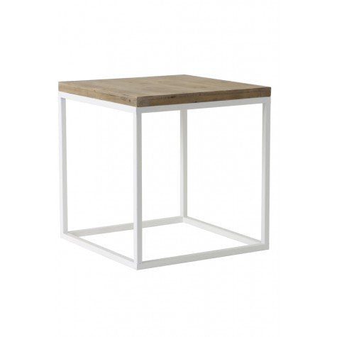 Wood and Metal Square Side Table
