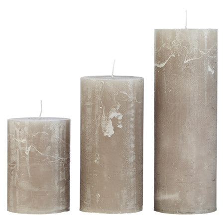Slim Rustic Pillar Candles in Stone