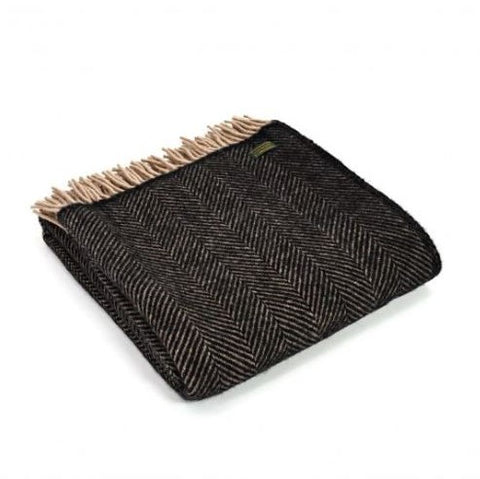 Pure New Wool Throw in Black and Beige Herringbone