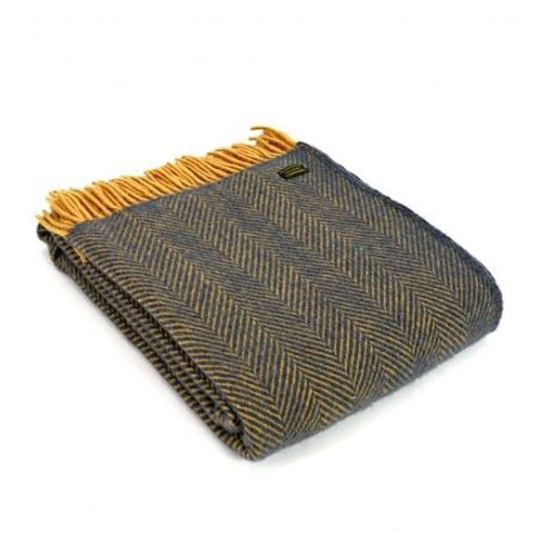 Pure New Wool Throw in Navy and Mustard Herringbone