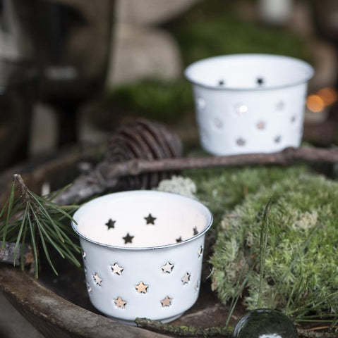 Enamel Tealight Holder with Stars