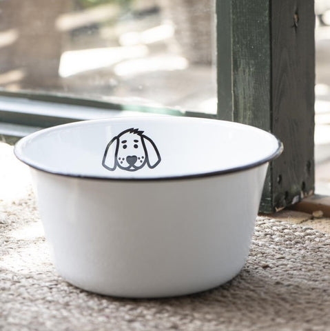 Large Enamel Dog Bowl