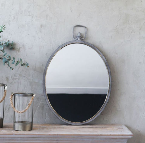 Zinc Oval Mirror Small