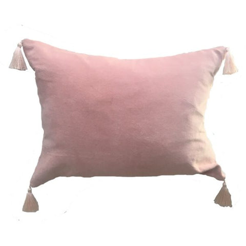 Blush Velvet Cushion With Corner Tassels