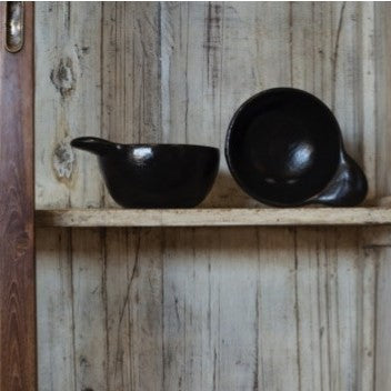 Black Terracotta Bowl with Handle