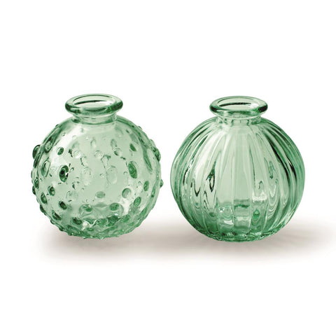 Round Green Glass Bottle