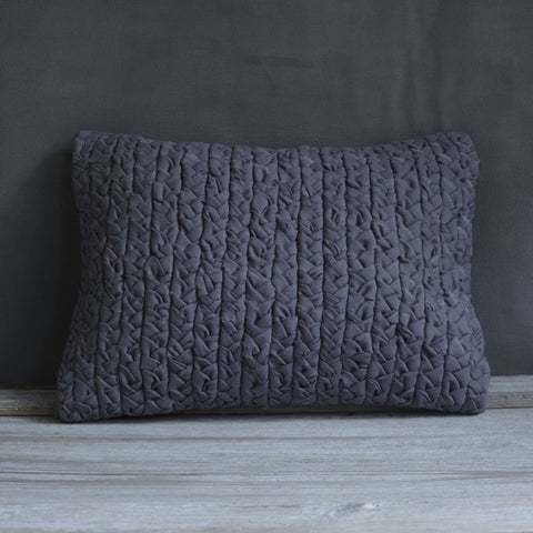 Grey Rectangle Plaited Cushion