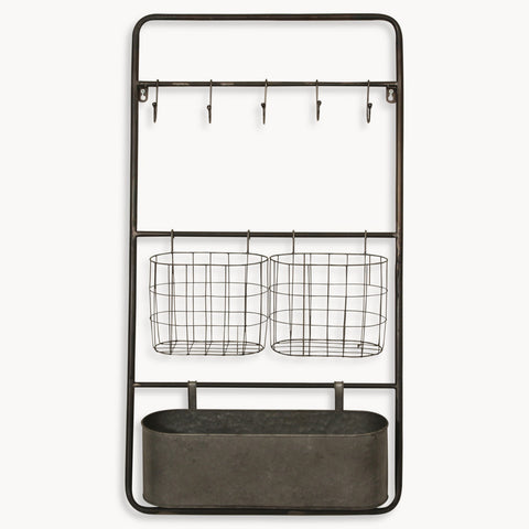 Wall Storage Rack with Baskets and Hooks