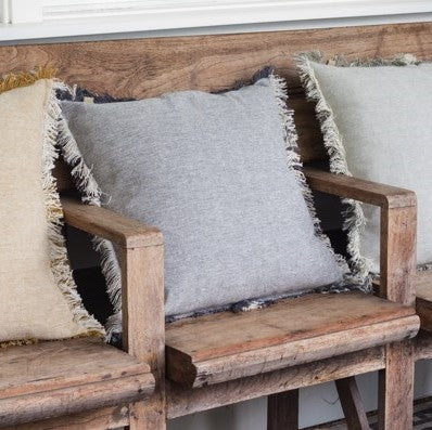 Cotton Fringe Cushion Grey & Linen
