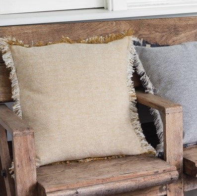 Cotton Fringe Cushion Mustard & Linen