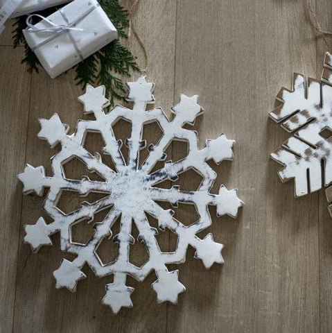 White Wooden Snowflake Medium