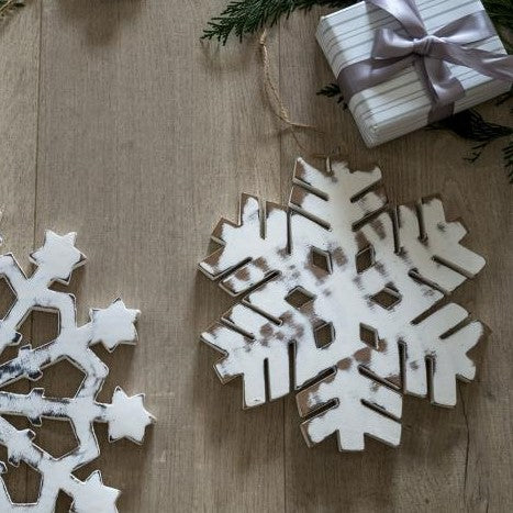 White Wooden Snowflake Small