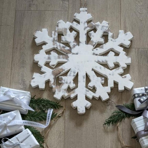 White Wooden Snowflake Large