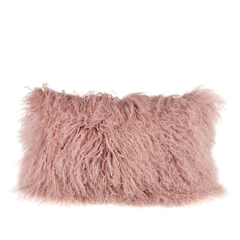 Tibetan Sheepskin Rectangle Cushion in Blush Pink