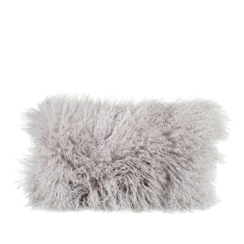 Tibetan Sheepskin Rectangle Cushion in Light Grey