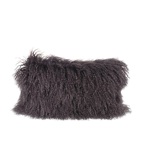 Tibetan Sheepskin Rectangle Cushion in Dark Grey