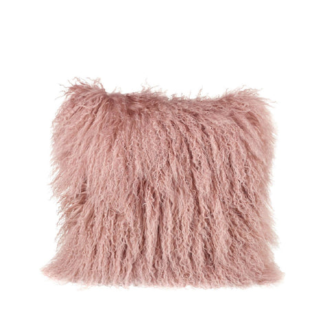 Tibetan Sheepskin Square Cushion in Blush Pink