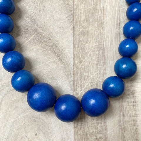 Wooden Beaded Necklace in Blue