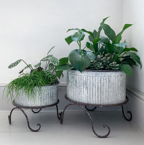 Galvanised Planter on Stand Small