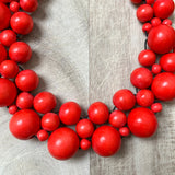 Wooden Beaded Crochet Necklace in Red
