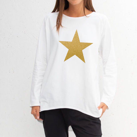 Star Top in White With Gold Star
