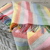 Pure New Wool Throw in Grey Rainbow Stripe