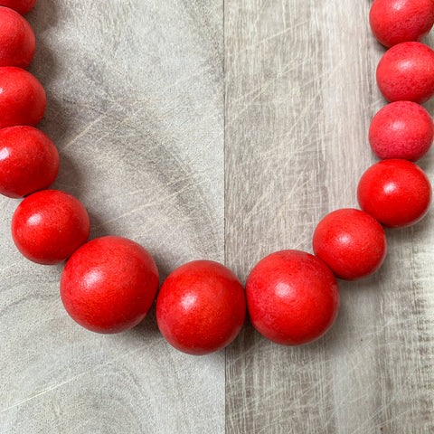 Wooden Beaded Necklace in Red
