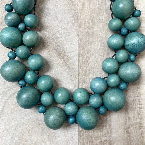 Wooden Beaded Crochet Necklace in Denim