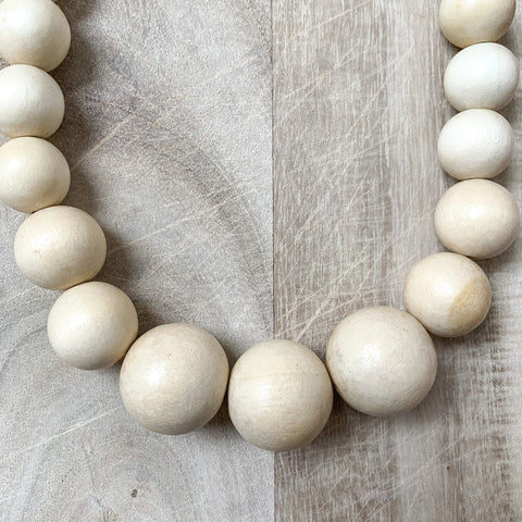 Wooden Beaded Necklace in Natural
