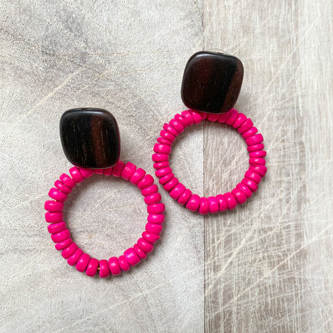 Coco Shell Earrings in Hot Pink