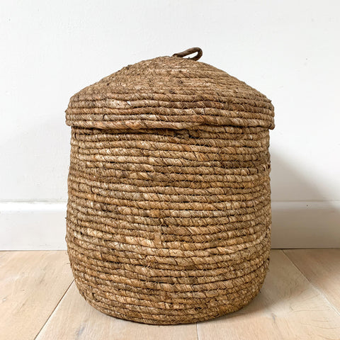 Brown Lidded Basket - Medium