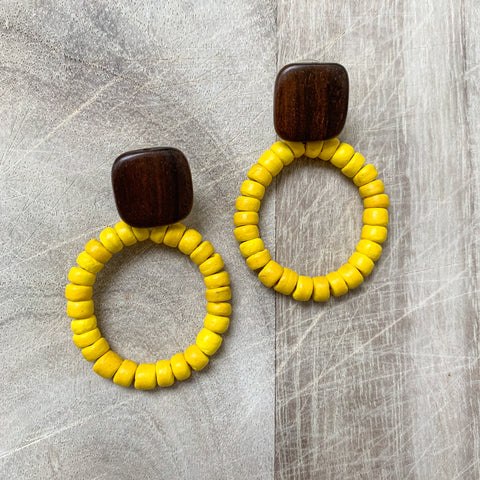 Coco Shell Earrings in Yellow