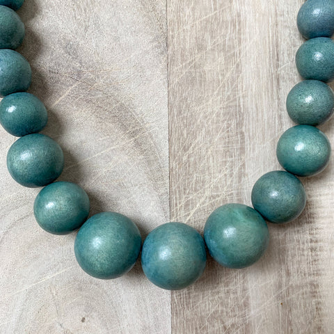 Wooden Beaded Necklace in Denim