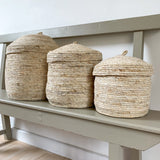 Natural Lidded Basket - Medium