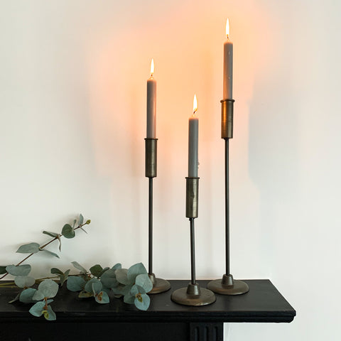 Tin Metal Candlestick Tall