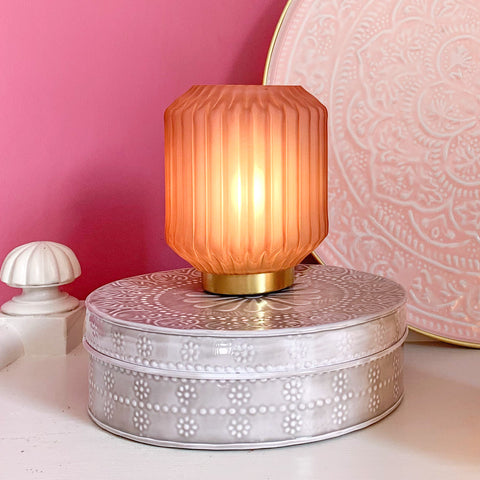 Glass LED Lamp in Dusky Pink