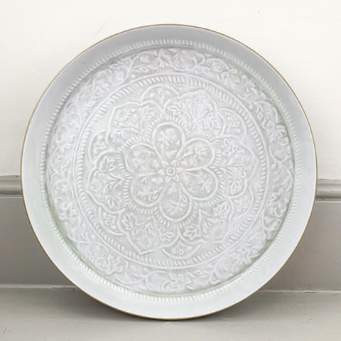 Large White and Mint Embossed Round Tray