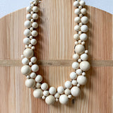 Wooden Beaded Crochet Necklace in Natural