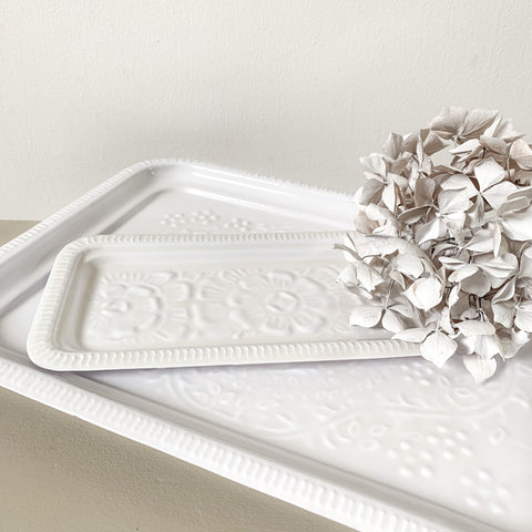 White Rectangle Embossed Tray Small