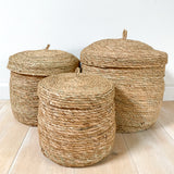 Light Brown Lidded Basket - Medium