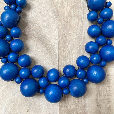 Wooden Beaded Crochet Necklace in Blue