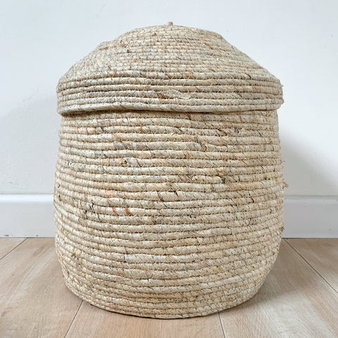 Natural Lidded Basket - Large