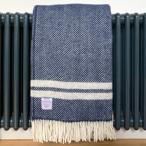 Pure New Wool Throw in Navy French Stripe