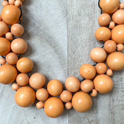 Wooden Beaded Crochet Necklace in Mustard