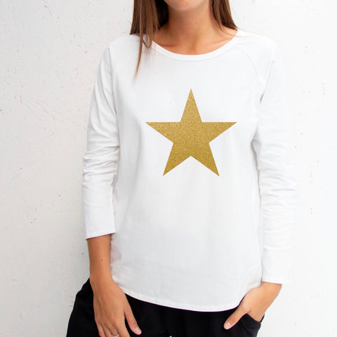 Long Sleeve White T-Shirt With Gold Star